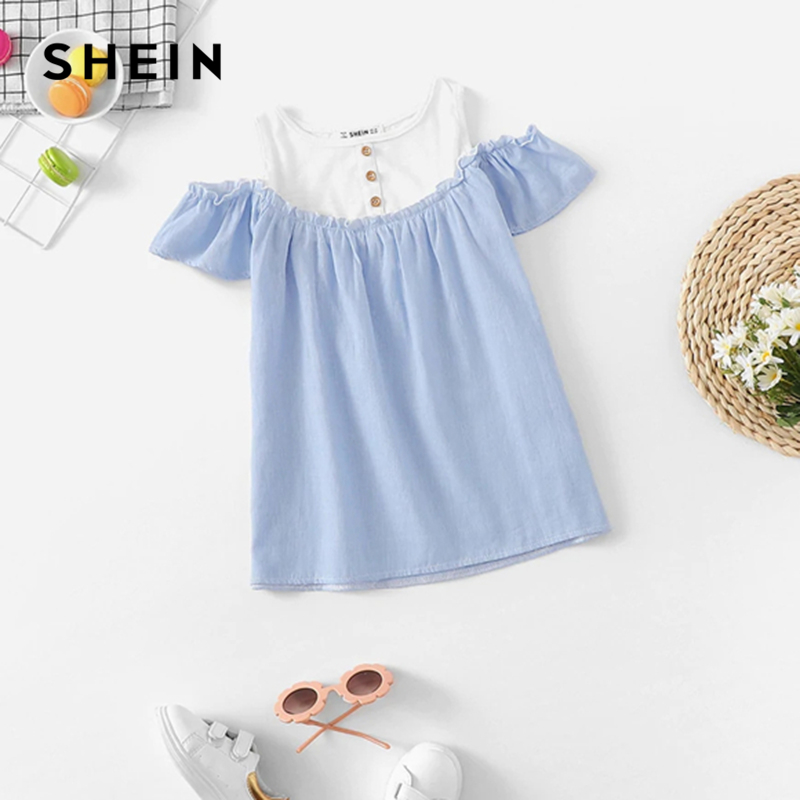 все цены на SHEIN Kiddie Blue Cold Shoulder Two Tone Ruffle Trim Button Top Cute Girl Kids Clothing 2019 Summer  Short Sleeve Girls Blouses