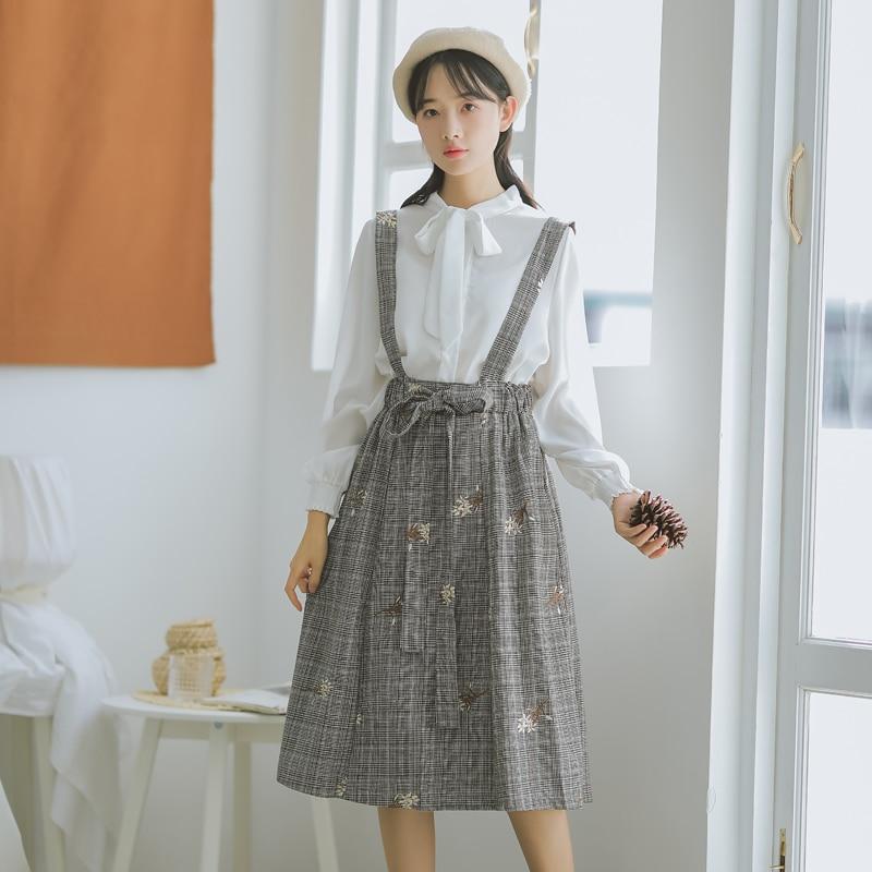 Mori Girl Autumn Spring Embroidery Sundress Spaghetti Strap Plaid Cotton Mujer Vestidos Vintage Elegant Floral Sleeveless Dress girl