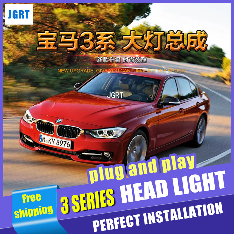 Car Styling For 3 Series F30 headlight assembly 13-16 For F30 LED head lamp Angel eye led DRL front light H7 with hid kit 2pcs. auto part style led head lamp for porsche 997 series led headlights for 997 drl h7 hid bi xenon lens angel eye low beam