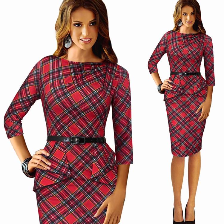 2018 new Spring women dress high quality Scotland Couture dress seven sleeve slim female pencil dress with belt