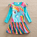 Ма bao li девушки с длинными рукавами платье одежда пакет печати туту платье хлопка радуги подол слово дети носить LH6010