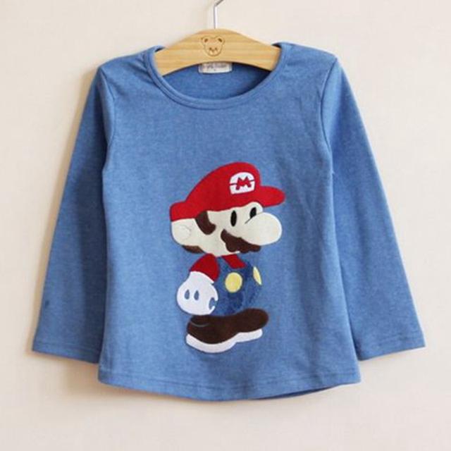 Bonito Super Mario Azul Crianças T Longo Da Luva Camisas Tshirt Do Bebê Da Criança T-Shirt Da Forma de 2016 Primavera Outono Roupas para Crianças