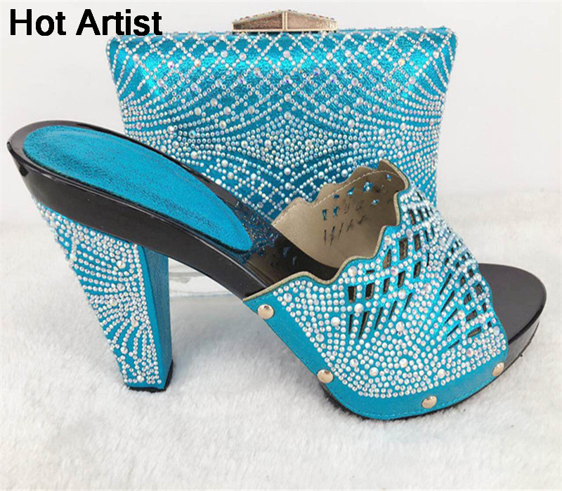 Hot Artist Italian Design Rhinestone Shoes And Bag Set Africa Woman Spike Heels Shoes And Bag Set For Wedding Party TYS17-17 hot artist summer style africa woman shoes and bag set hot selling fashion slipper shoes and purse set for party bl425c