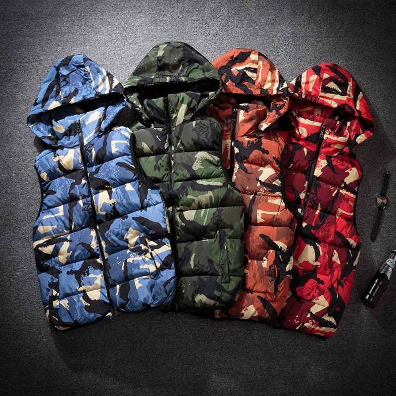2018 Womens Sleeveless   Parka   Jacket Vest Cotton New ladies Winter Warm Vest Hooded Camouflage Thick Famale Casual Basic Jacket