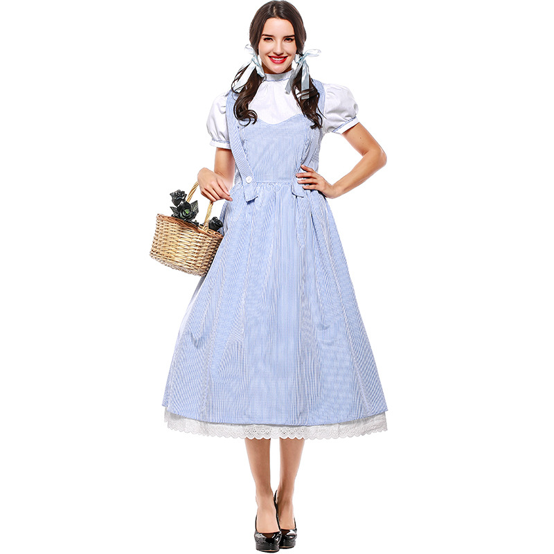 Halloween The Wizard of OZ Women Dorothy Gale Blue Dress DG girl costume with hair bands Drama Dorothy dress any size