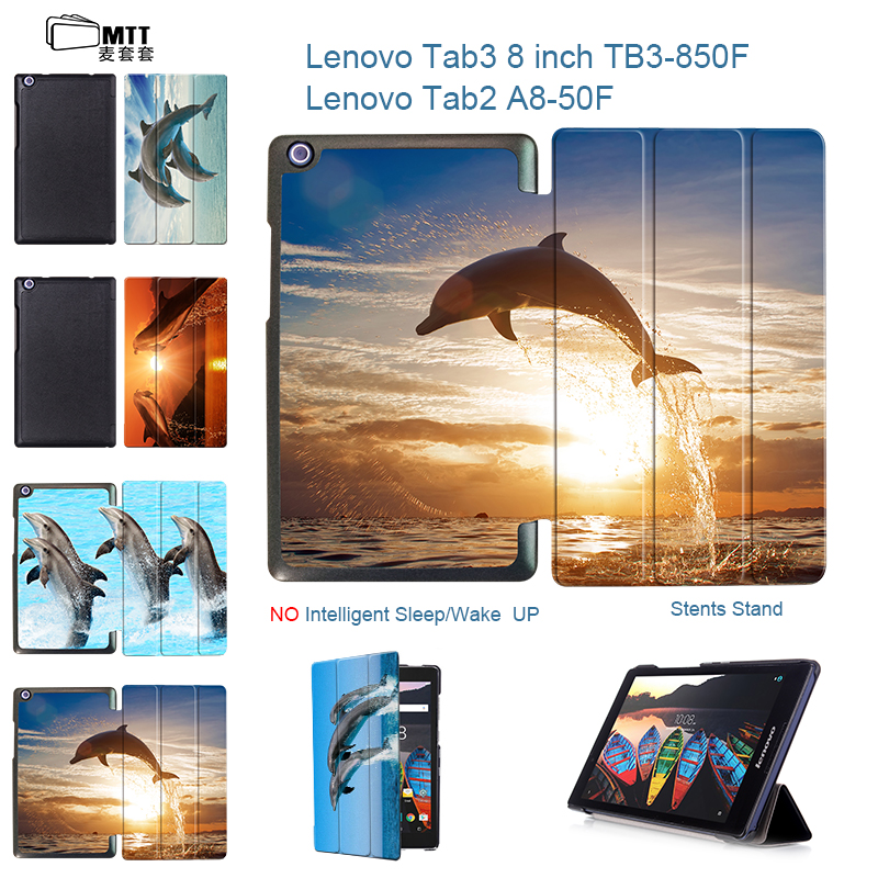 MTT Dolphin PU Leather Case For Lenovo Tab3 Tab 3 8 TB3-850M 850F Flip Stand Cover For Lenovo Tab2 Tab 2 A8-50F Universal Funda ultra slim flip with magnetic pu leather folding stand cover case for lenovo tab 2 a8 50 a8 50f a8 50lc 8 0 tablet case