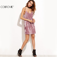 Spaghetti Strap Dress Sexy Bodycon Dress Clubwear Pink Velvet