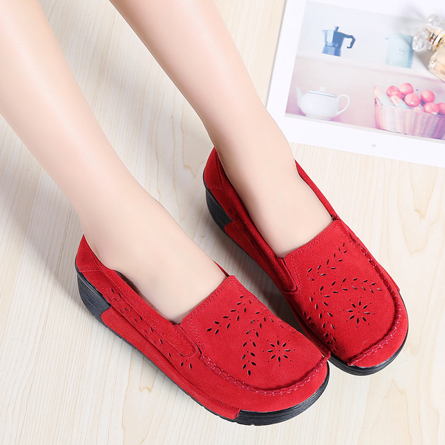 ccf92ad7677c Genuine Leather Suede Women Loafers Flat Platform Loafers Ladies Elegant Moccasins  Casual Shoes Woman Wedges Single Female Shoes