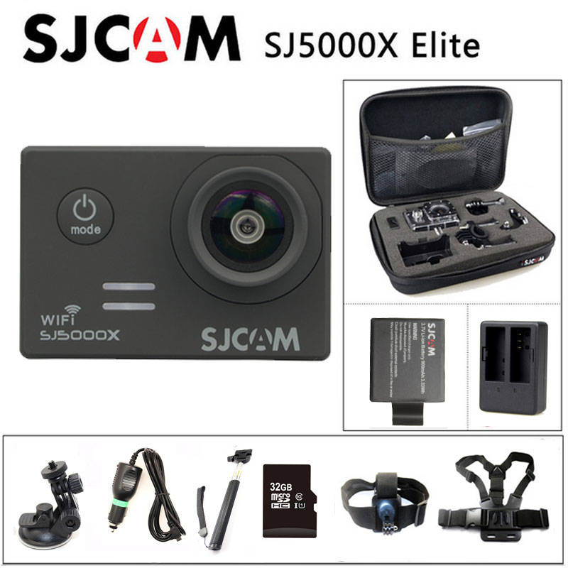 Free shipping!!Original SJCAM SJ5000X WIFI 2K 30fps Gyro Sport Cam+Car Charger+Holder+Extra 1pcs Battery+Battery Charger+Monopod 53000459
