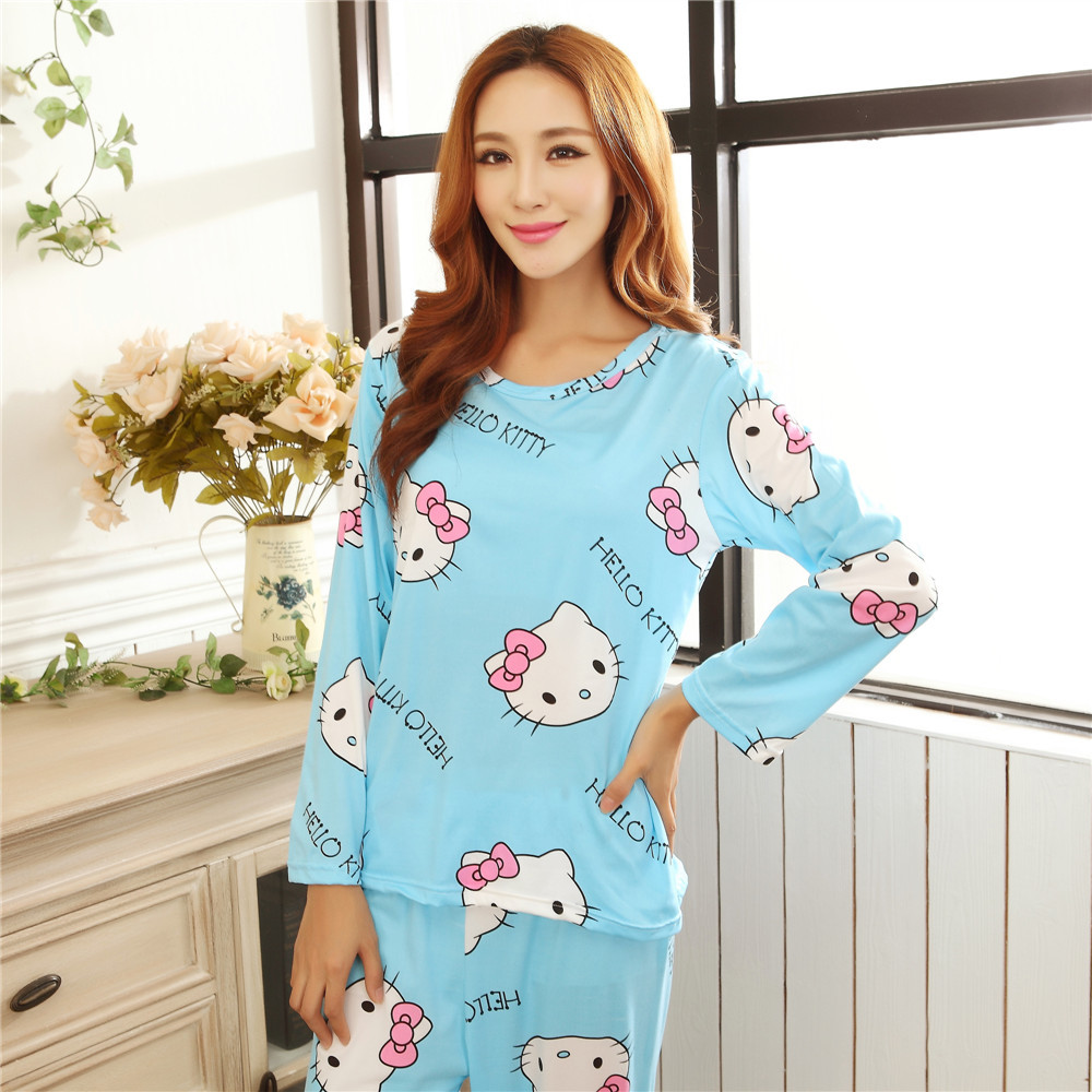 Pajamas woman Spring and autumn cartoon female long sleeved nihgtgown suit Long pants +long sleeve shirts Home Furnishing