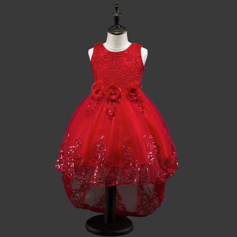 Trailing Flower Party Wedding Dresses Children Elegant Fancy Kids Clothing Costumes 3-10Years Girls Sleeveless Princess Dress