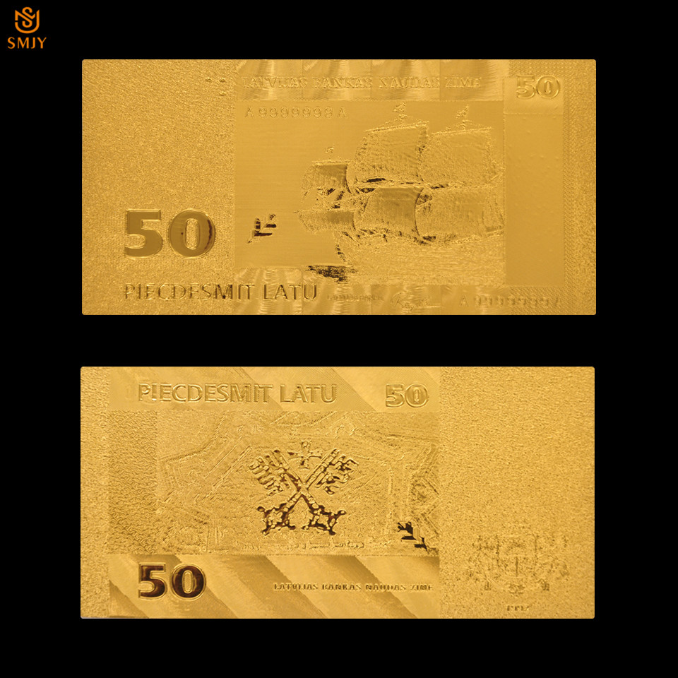 24k Gold <font><b>Banknotes</b></font> Latvia <font><b>50</b></font> Lats <font><b>Euro</b></font> Replica <font><b>Fake</b></font> Money As A Souvenir Gift For Collection image