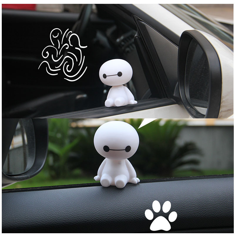 Cartoon Plastic Baymax Robot Shaking Head Figure Car Ornaments Auto Interior Decorations Super Marines Toys Ornament Car Styling-in Ornaments from Automobiles & Motorcycles