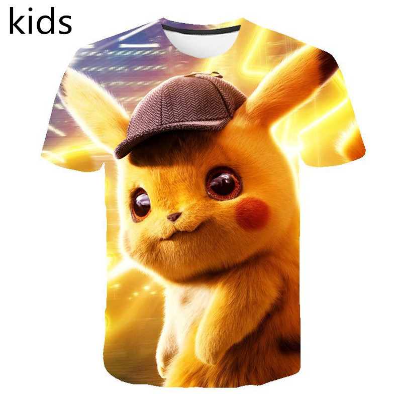 2019 New Cartoon kids T shirts Pokemon Detective Pikachu 3D Printed Children T-shirt Summer Short Sleeve T shirt Asian size(China)