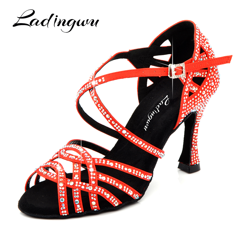 Ladingwu Women Latin Dnace Shoes Red Black Silk Satin Salsa Dance Shoes Performance Dancing Shoes zapatos de baile latino mujer цена
