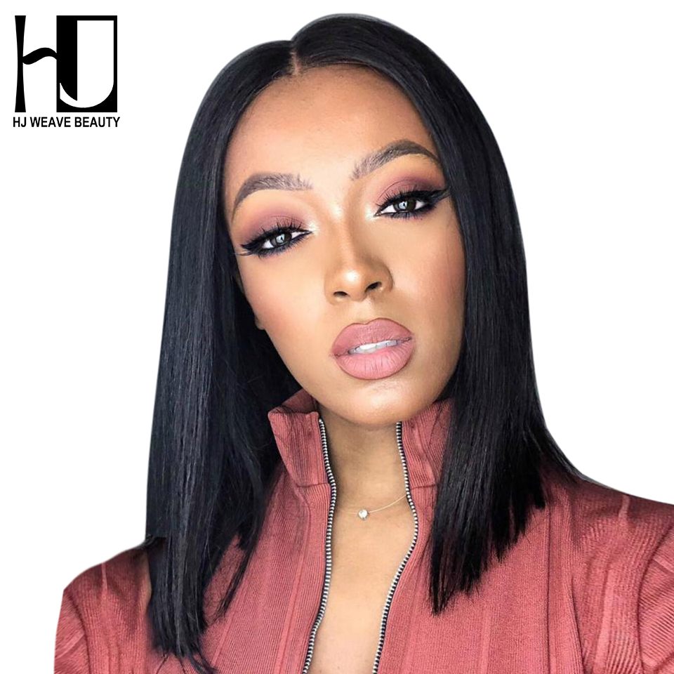 13X6 Short Lace Front Human Hair Wigs Peruvian Bob Wig with Pre Plucked Hairline Lace Wigs