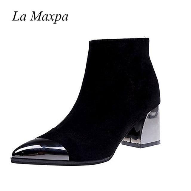 2019 Seksi siyah ayakkabı Sivri Burun Kare Topuk Yüksek Çizmeler Bahar Ayakkabı Metal Dekorasyon Çalışma Zip Zapatos Mujer 6 CM Sarı çizmeler