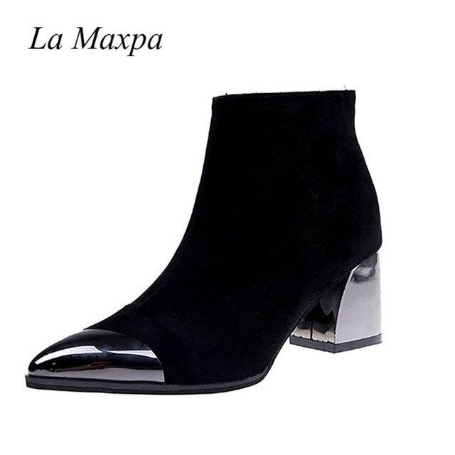 2019 seksi siyah ayakkabı sivri burun kare topuk yüksek çizmeler bahar ayakkabı, Metal dekorasyon çalışması Zip Zapatos Mujer 6 CM sarı çizmeler