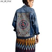 2017 Spring Autumn Women Long Sleeve Denim Jackets Ladies Embroidery Denim Jacket Female Fashion Single Breasted