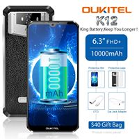 OUKITEL K12 Waterdrop 7.12 FHD+ 1080*2340 16MP Smartphone 6GB RAM 64GB ROM Face ID 10000mAh 5V/6A Quick Charge OTG Mobile Phone