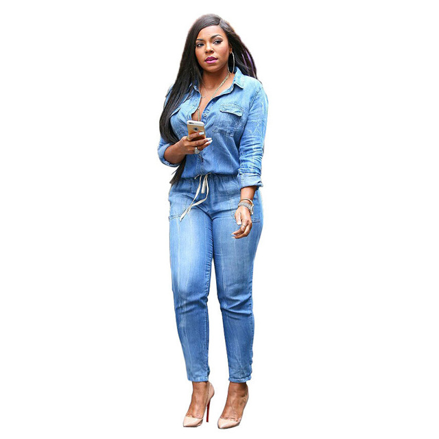 Мода bodycon Джинсы Женщины Тонкий вскользь Джинсовые Комбинезоны Sexy Тонкий Лацкане с длинными рукавами пояса джинсы плюс размер Джинсы Карандаш комбинезоны