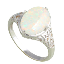 Party rings white fire created opal pure silver 925 sterling silver solid silver excellent jewelry for women SR6