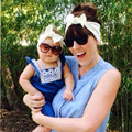 Мама и я boho тюрбан повязка на голову пара SET Top завязывают повязка на голову комплект мода ребенка и мамы хлопка тюрбан комплект 1 компл.