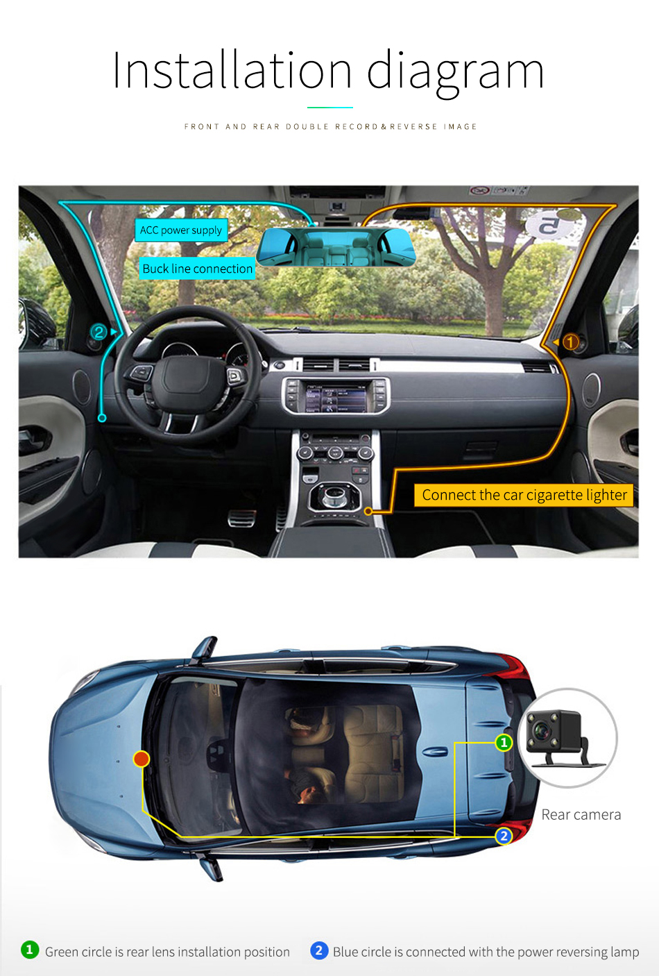 """Jansite Newest 5.0"""" Touch screen Car DVR Camera Super night vision Review Mirror Dvr Detector Video Recorder 1080P Car Dvrs 22"""
