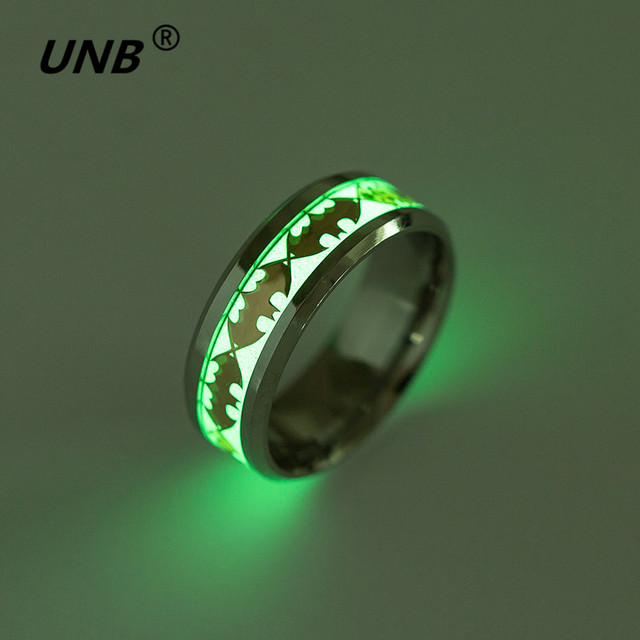 Batman Wedding Rings For Men 2017 Retro Luminous Men Ring Stainless Steel Batman Ring