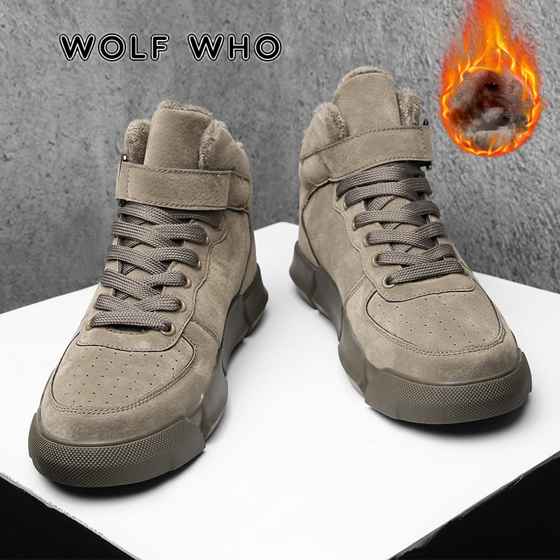 WOLF WHO Super Warm Winter Men Boots High Quality Autumn Snow Boots Male Waterproof Soft Pu Leather Shoes Men Ankle Boots X-022