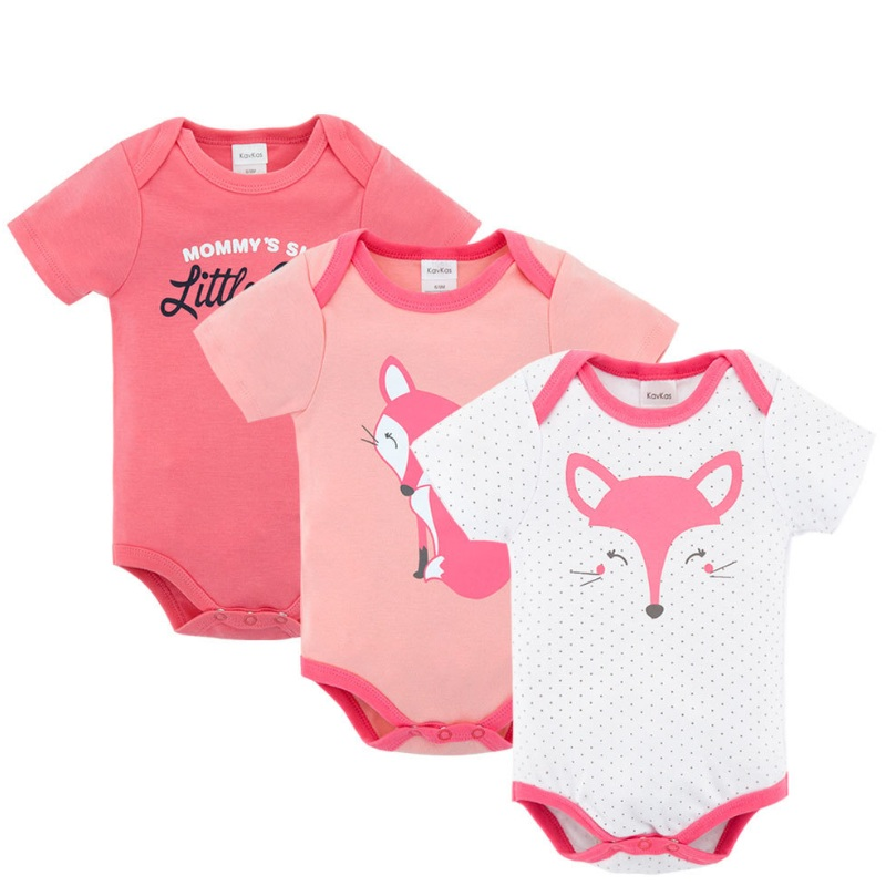 7d0a2af4853a3 US $14.88 46% OFF|Kavkas New Born Baby Girls Rompers Cartoon Fox Cat  Newborn Short Sleeve Summer Clothing Jumpsuits Boy Body Suit 3pcs/Pack  Infant-in ...