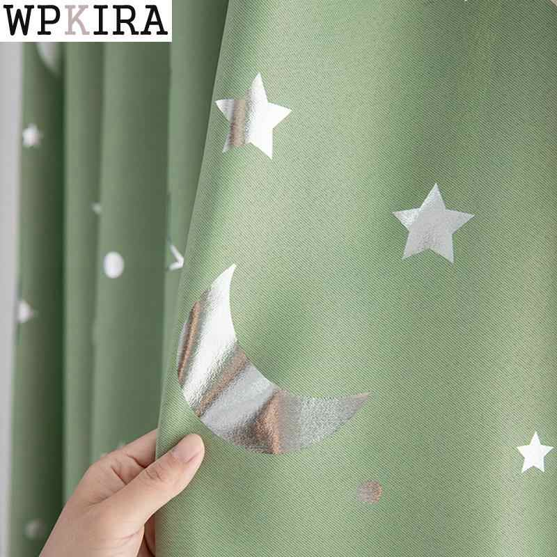 Shiny Pink Star Moon White Sheer Tulle Window Curtains For Living Room Bedroom Modern curtain cloth for Kid Room Drape S007&30