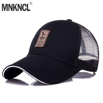 MNKNCL alta calidad verano malla gorra de béisbol hombres mujeres larga ala  casquillo del camionero del Snapback sólido Casquette Homme 0ae94877804