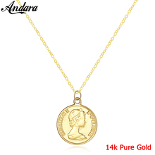 Real 14k Yellow Gold Necklace Vintage Religious Faith Necklace Pendant Woman Man Gold Jewelry real 24k yellow gold pendant women 999 gold 3d heart pendant