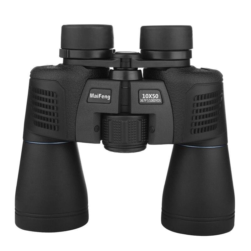 MaiFeng Binoculars 10X50 Professional Telescope Binoculars Waterproof Bak4 Prism Optics Zoom Hunting Waterproof Binoculars