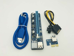 100PCS VER 008C Upgrade Edition USB3.0 PCI Express Riser Card 1x to 16x Extender 6Pin Power Cable for BTC Miner Mining Machine