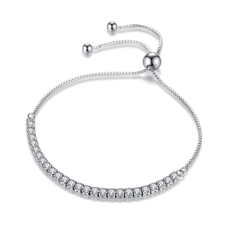 XIYANIKE Featured Brand DEALS 925 Sterling Silver Sparkling Strand Bracelet Women Link Tennis Bracelet Silver Jewelry VBS4087 1