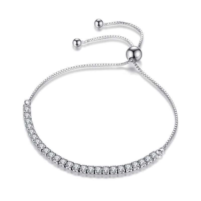 XIYANIKE Featured Brand DEALS 925 Sterling Silver Sparkling Strand Bracelet Women Link Tennis Bracelet Silver Jewelry VBS4087