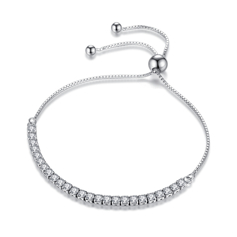 XIYANIKE Featured Brand DEALS 925 Sterling Silver Sparkling Strand Bracelet Women Link Tennis Bracelet Silver Jewelry VBS4087(China)