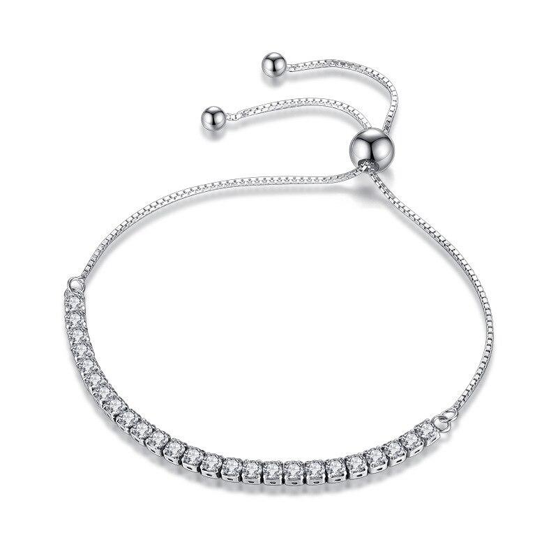 XIYANIKE Featured Brand DEALS 925 Sterling Silver Sparkling Strand Bracelet Women Link Tennis Bracelet Silver Jewelry VBS4087