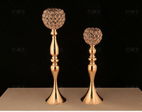 Gold Crystal Candelabra Candle Holder Flower Stand Table Centerpiece