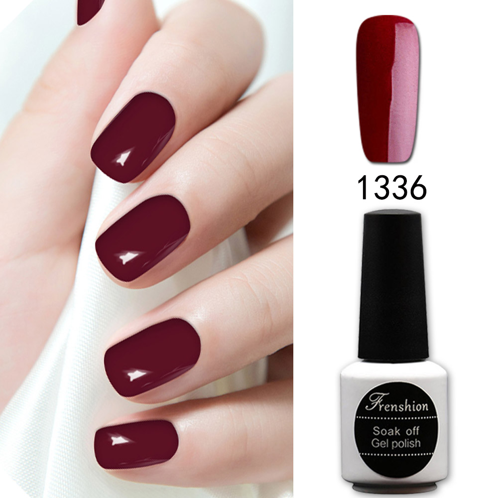Frenshion 7.3ML Esmalte Dark Red Nail Gel UV Gel Nail Polish Soak ...