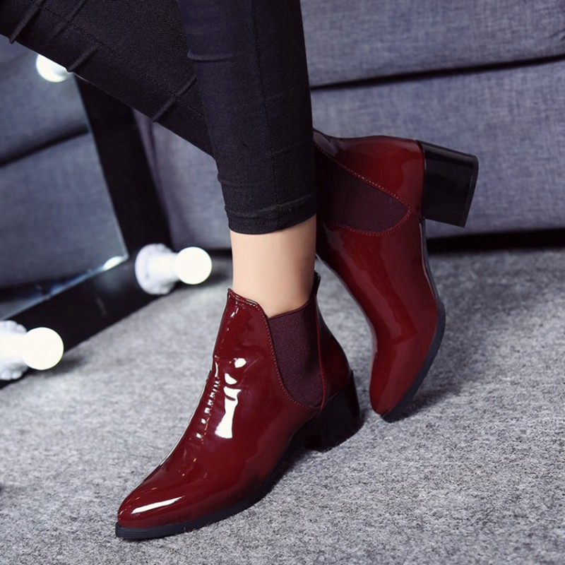 COOTELILI Comfortable 5cm High Heels Ankle Boots For Women Pointed Toe Warm Autumn Winter Shoes Women Pumps Red Black 35-39 (12)