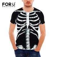 FORUDESIGNS Cool Body Bone Printing T Shirt for Men Fashion Male Tops Summer Short Sleeve Streetwear T Shirts Camisa Masculina