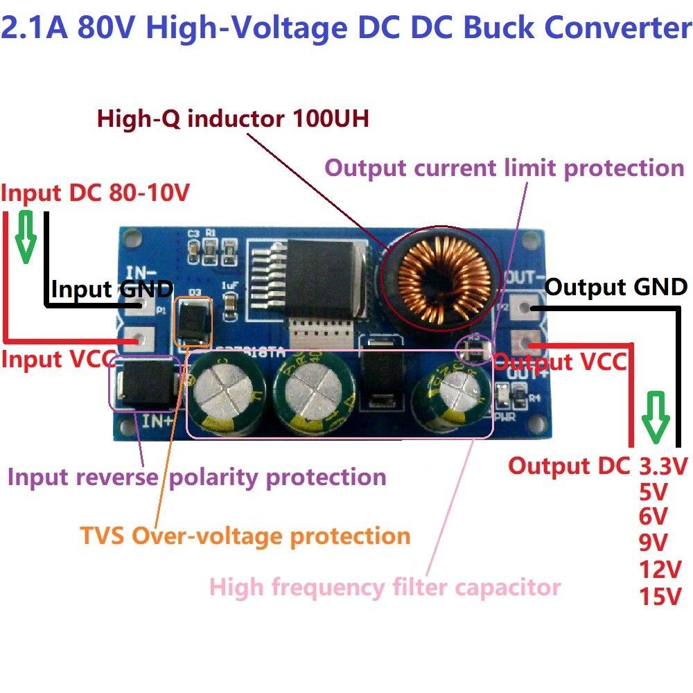 Mini DC-DC Buck Step Down Converter 24V 36V 48V 72V 96V to 5V 12V Dual Output