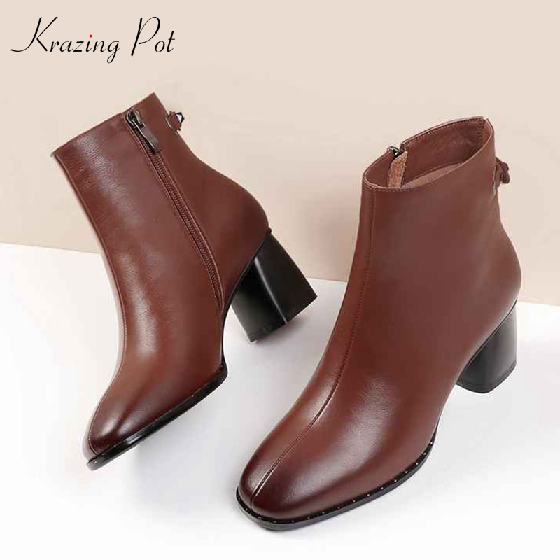 Krazing Pot genuine leather round toe motorcycle boots 5.5cm high heels streetwear European fashion simple lazy ankle boots L2f1 krazing pot cow leather low heels gladiator round toe hollywood european chelsea boots plus size streetwear nude boots l83
