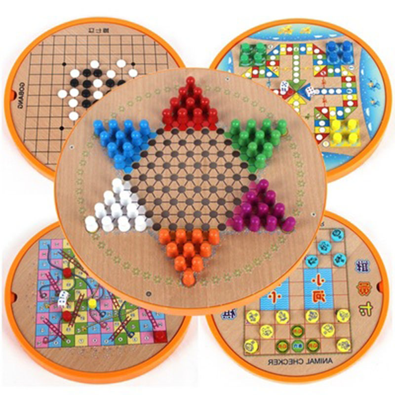 5 In 1 Wooden Checkers Kids Puzzles Toyes Flying Chess Chinese Draughts Train Chess Gobang Animal Checker Five Uniting Chess Set