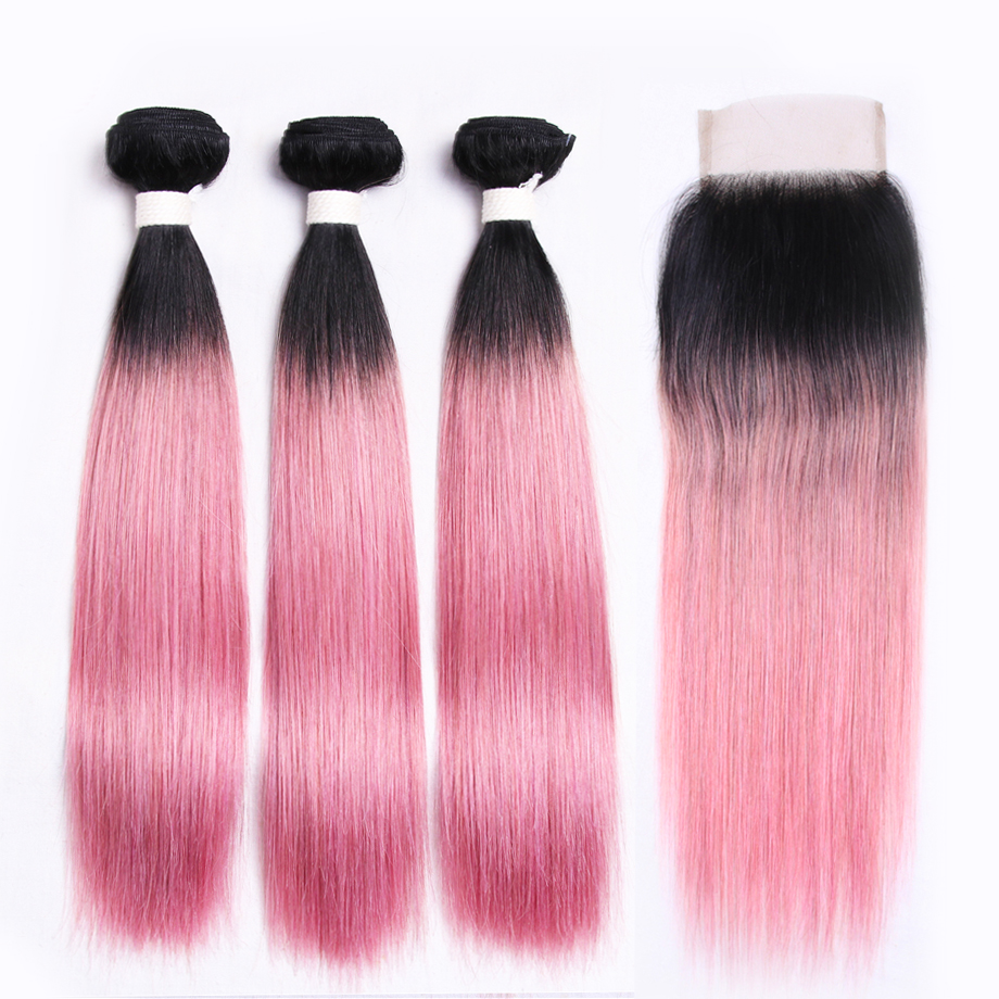 Ivy Straight T1b Pink Rose Pink Hair Style 3 Bundles 100 Brazilian