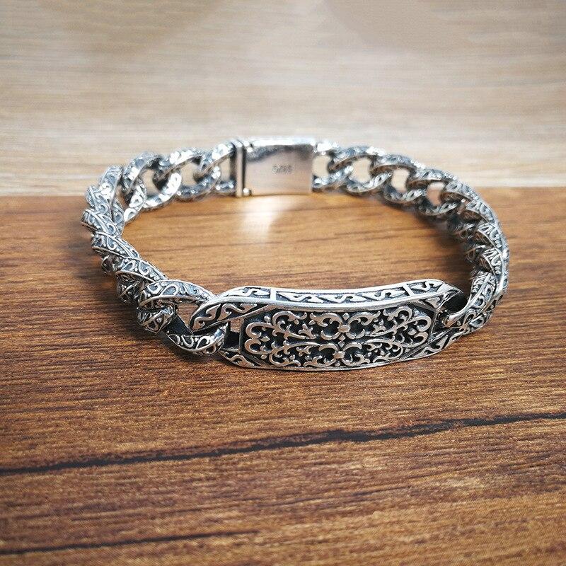 925 Sterling Silver Men s Personality Bracelet Thai Silver Retro Domineering Punk Tide Bracelet Fashion Pattern