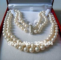 Hot Sell Rare 2 Rows 8 9 MM AKOYA SALTWATER PEARL NECKLACE 18